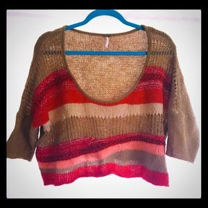 Free people cropped sweater top hippie bohemian M